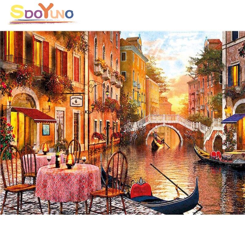 SDOYUNO Рисование по номерам DIY Венеция романтический ужин искусство Рисование Искусство раскраска стены Искусство картина домашний Декор под...