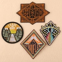 customizable wholesale computer embroidery round embroidered badge embroidery patch cloth label
