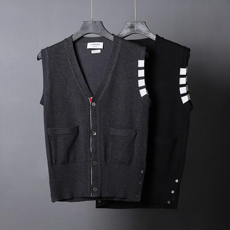 TB ماركة THOM البلوزات الرجال ضئيلة الخامس الرقبة بالأزرار الصوف مخطط ملابس خارجية غير رسمية سترة الكورية تصميم جودة عالية