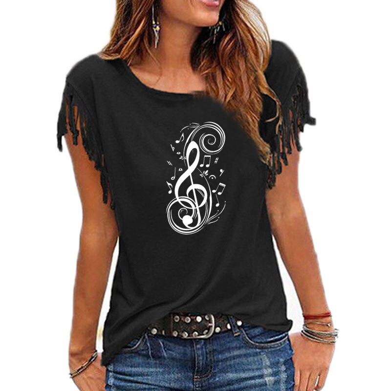 Nueva Camiseta con estampado gráfico de nota Musical para mujer, camiseta informal de algodón con borla para mujer, camisetas de manga corta con cuello redondo, camiseta para mujer