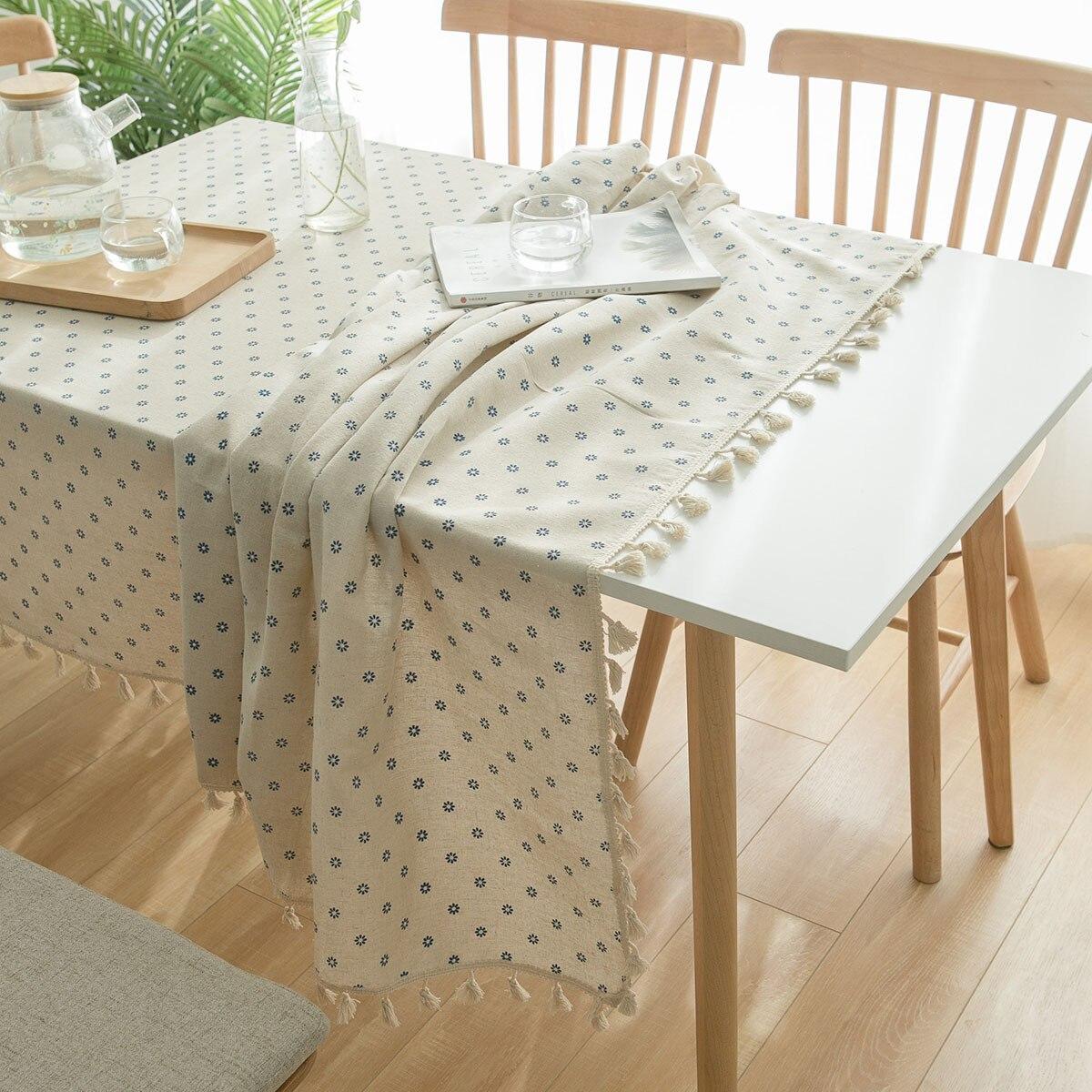 Mantel de tela con borlas, funda multifunción, toalla con patrón de flores, mantel blanco sobre la mesa, decoraciones para el hogar DW117