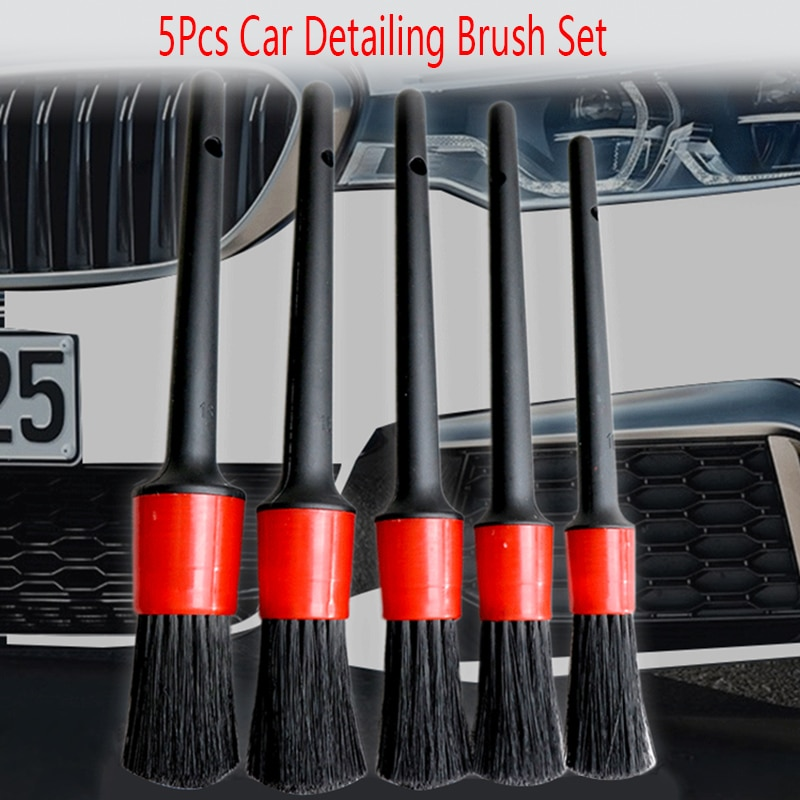 5pcs Car Detailing Brush Auto Cleaning Set Dashboard Air Outlet Clean Tools Wash Accessories