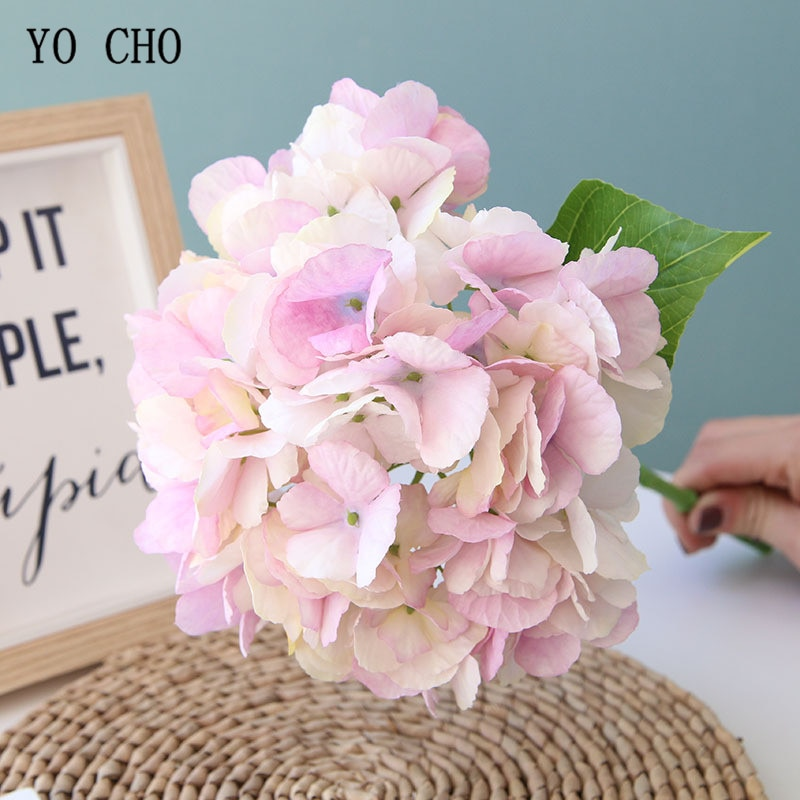 Yo cho único ramo primavera hortênsia flores de seda hortênsia casamento bouquet de dama de honra artificial flor decoração para casa acessórios