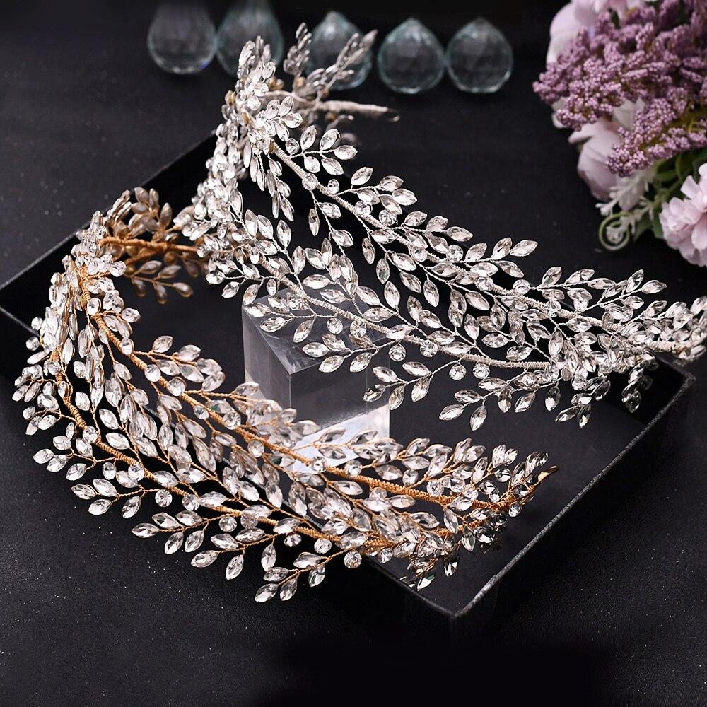 تاج الأميرة الأوروبية الكلاسيكية ، تاج حجر الراين الذهبي الفضي HP308 ، إكسسوارات شعر الزفاف ، هدية عطلة للبنات
