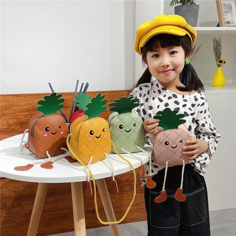 Bonito bolso de fruta para bebé 2020, bolso bandolera de piña Kawaii para niñas pequeñas, monedero, bolsa, Mini monedero de regalo para niñas