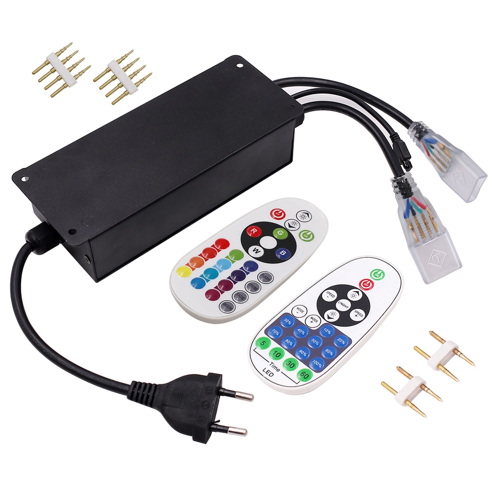 LED Strip Light Controller Remote Control LED Light Dimmer with EU Power Plug for 220V 2835 5630 5050 RGB 6mm 10mm 12mm 15mm PCB