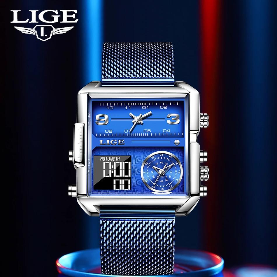 LIGE 2021 جديد الرقمية الساعات الرياضية أفضل الفاخرة العلامة التجارية الكوارتز ساعة اليد موضة ساحة مقاوم للماء الإلكترونية ساعة رقمية Reloj