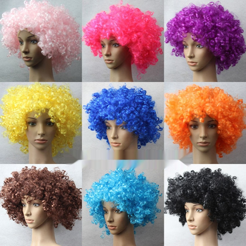Halloween Round Explosion Hair Wig Cosplay Dance Party Hairpiece Colourful Funny Clown Fans Afro Hairstyle For Children Adult