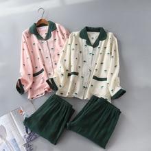 Daeyard femmes coton pyjama ensemble Double couche maille à manches longues chemises et pantalons 2 pièces Pyjamas pyjama doux décontracté Homewear