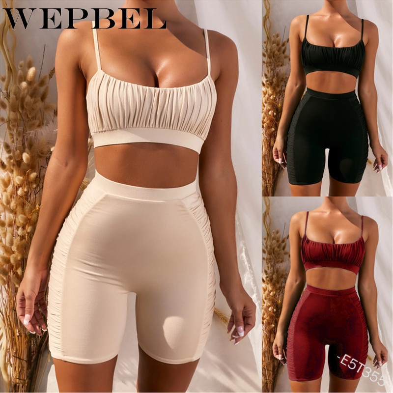 Women Summer Fitness Tracksuit Outfits 2 Pcs Solid Sling Crop Top High Waist Shorts Pants Bodycon Stretch Sleepwear Clothing