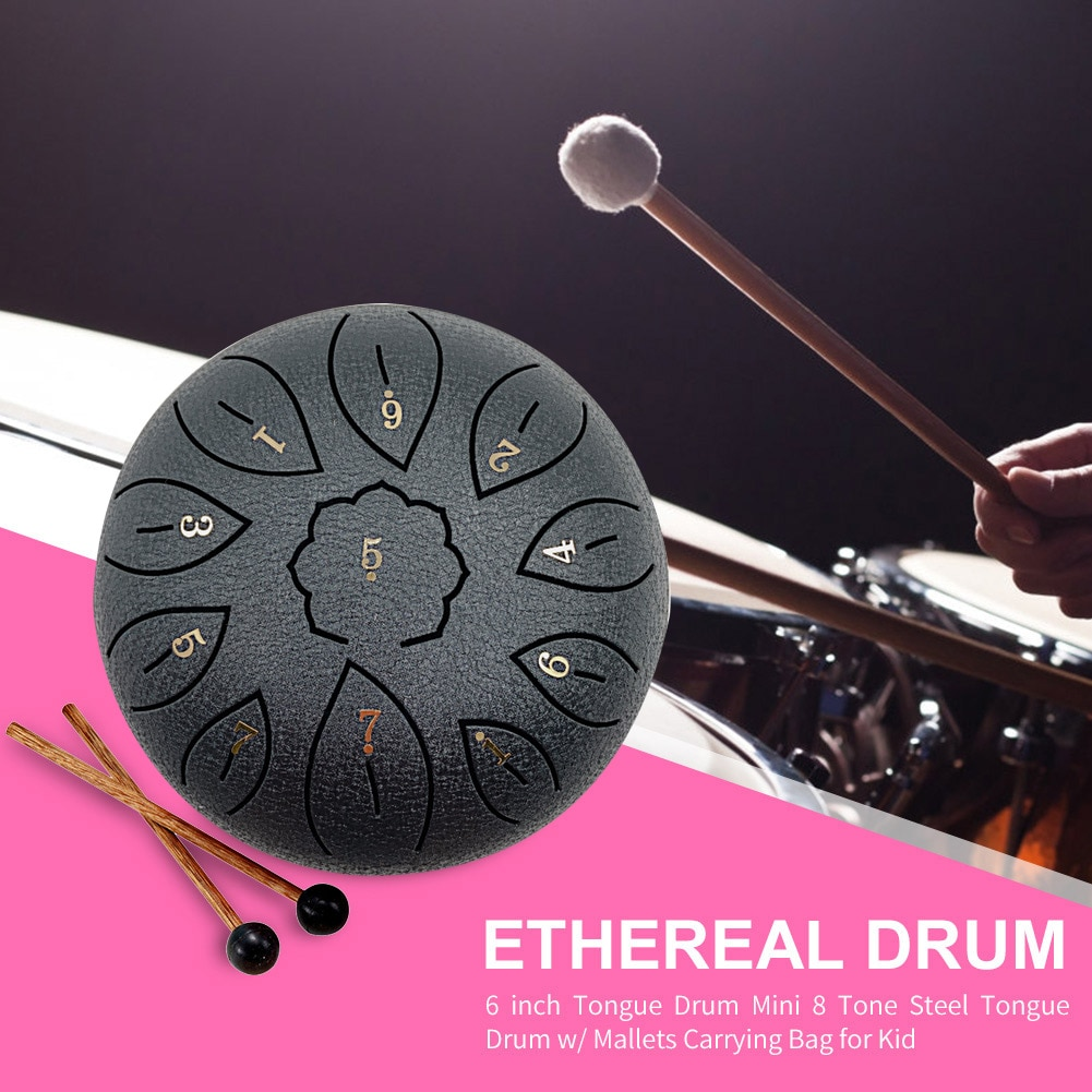 6/8 inch 11 Tune Beginner Exercise Ethereal Drum Tune Percussion Musical Instrument Steel Tongue Drum Hand Pan Tank Drum Gifts