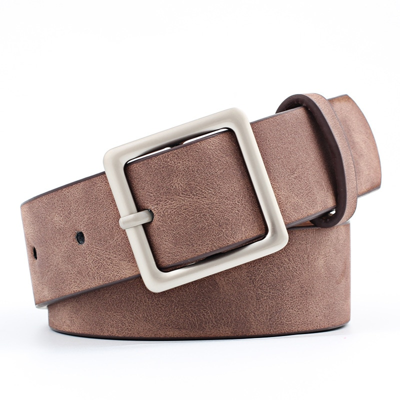 Simple Wild Square Buckle PU Leather Popular Belt Fashion Retro Women Men Student for Jeans Dress