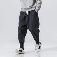 cotton harem pants men solid elastic waist streetwear joggers new baggy casual trousers men dropshipping men pants