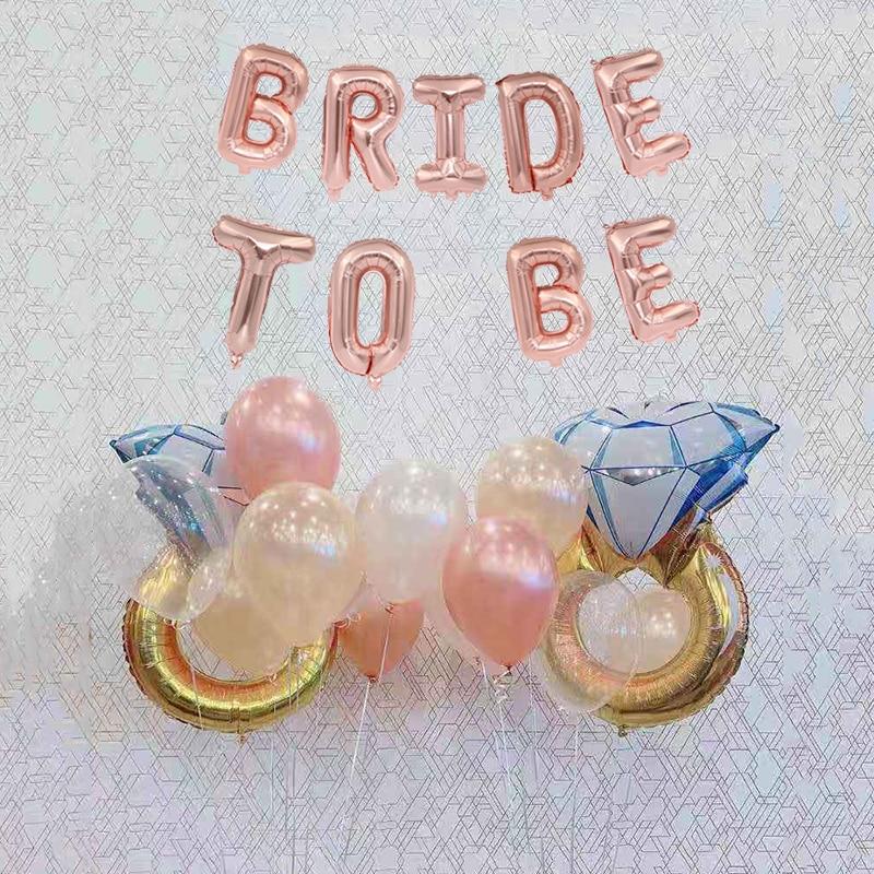 1/lote de la novia a ser tema de papel de aluminio globo anillo de diamante amor Marco despedida de soltera globo de aluminio para fiesta de boda proveedor