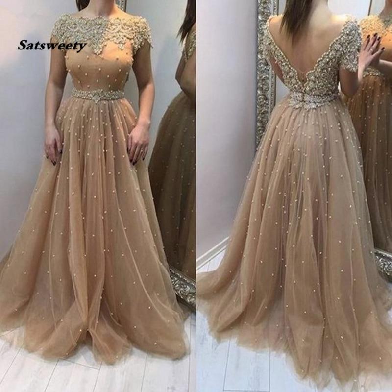 Champagne 2020 vestidos De noche con mangas cortas perlas De cristal profundo V espalda vestidos formales para boda fiesta Vestido De fiesta