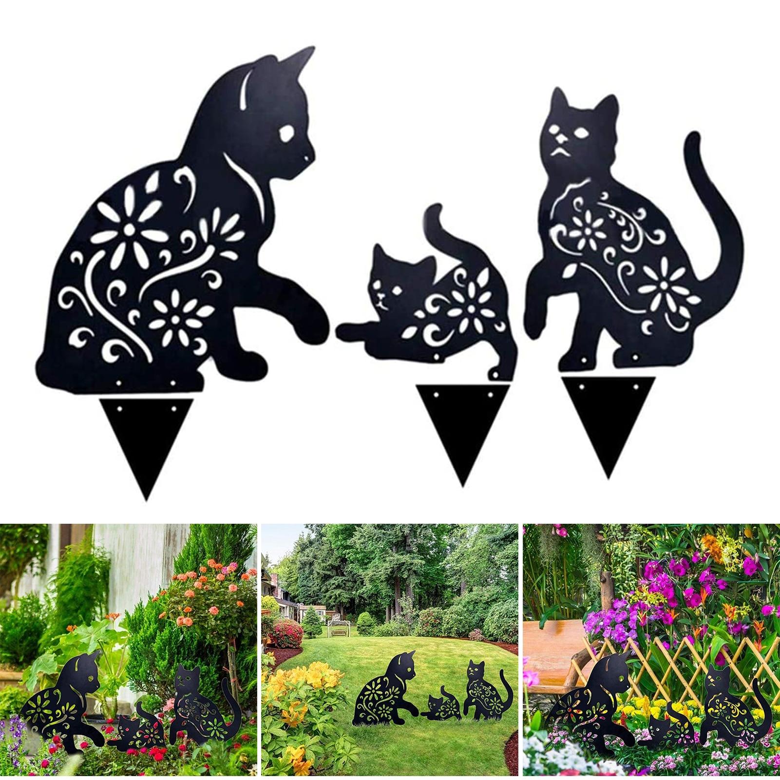 2D القط الشكل الأرضي إدراج ديكور الجوف نابض بالحياة هريرة المعادن تمثال الوتد للخارجية حديقة مانور الحديقة الأسود S7