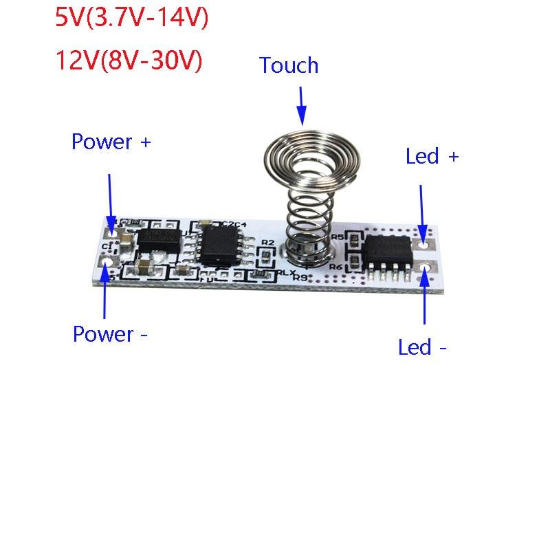 12V Kapazitive Touch Sensor Schalter Spule Frühling Schalter LED Dimmer Control Schalter für Smart Home LED-Licht Streifen