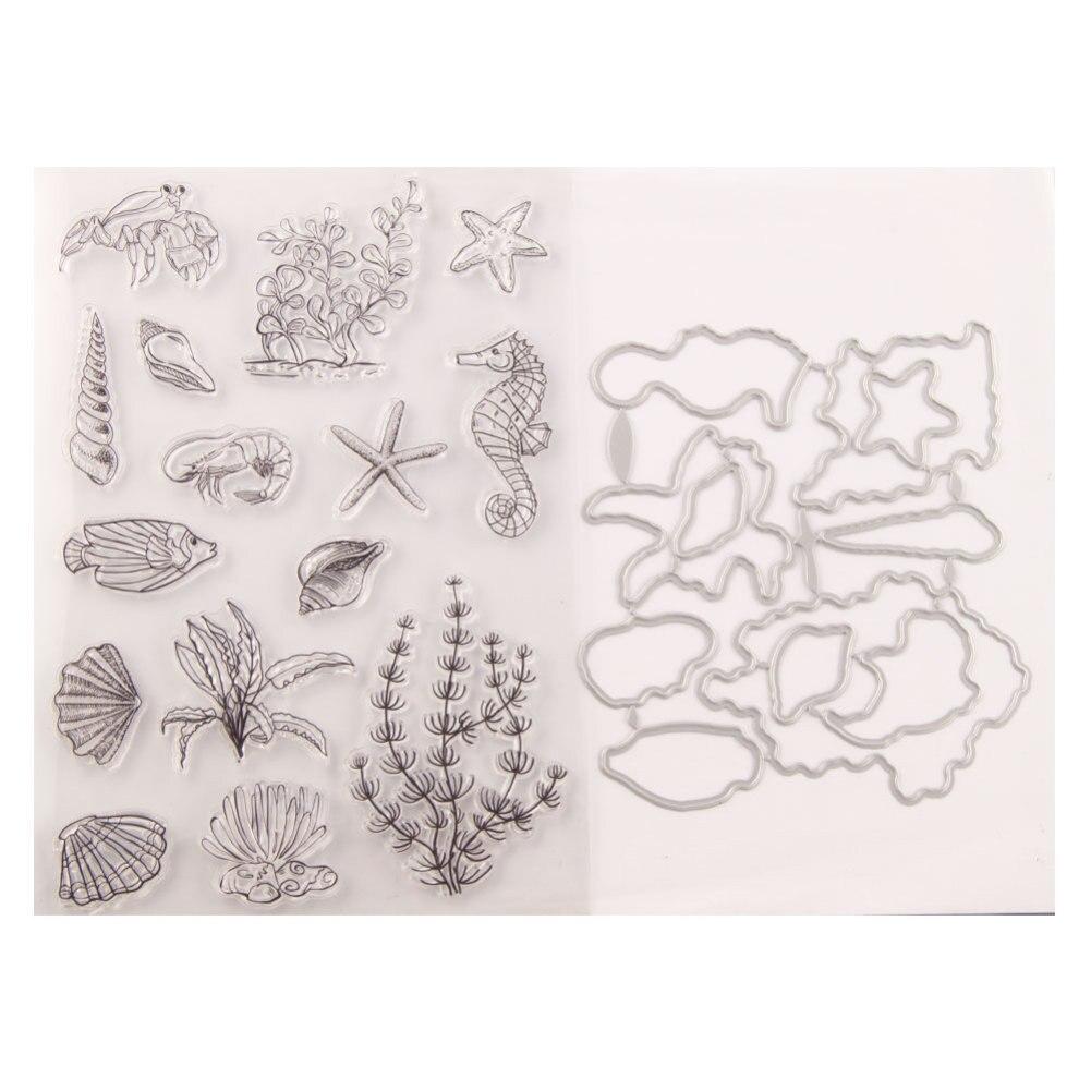 ¡Novedad de 2020! Troqueles de corte de Metal y sellos transparentes para álbum de recortes para fabricación de papel, concha de mar, Marco grabado en fondo marino, artesanía de tarjeta