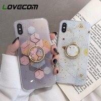 Чехол с кольцом-держателем для iPhone 12 Mini 11 Pro Max XR X XS Max 7 8 6 Plus, золотой порошок, геометрический мраморный дизайн, мягкий чехол для телефона