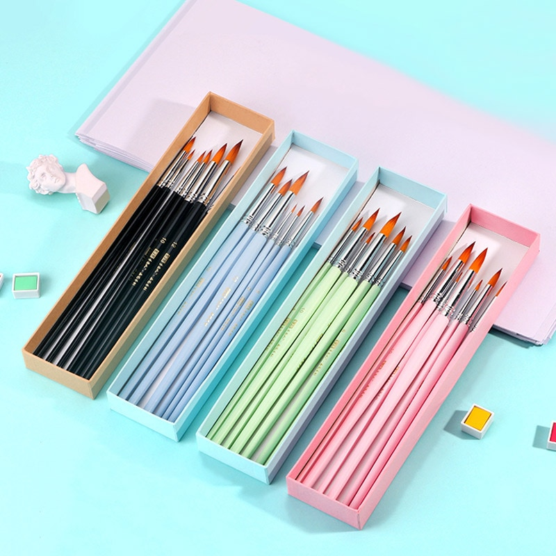 7/10Pcs Nylon Artist Paint brush Pig bristles brushes for painting Professional Watercolor Gouache Supplies Oil Acrylic drawing