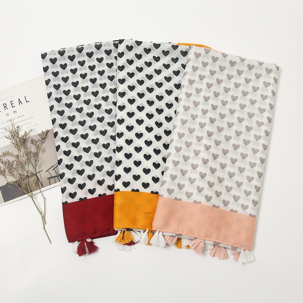 Autumn Fashion 2021 Lovely Heart Tassel Viscose Scarf Lady High Quality Print Shawls and Wraps Muslim Pashmina Stole 180*90Cm