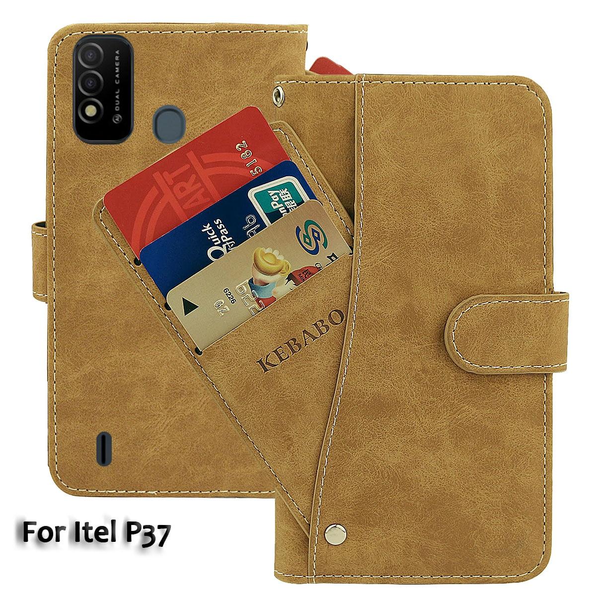 Vintage Leather Wallet Itel P37 Case 6.5