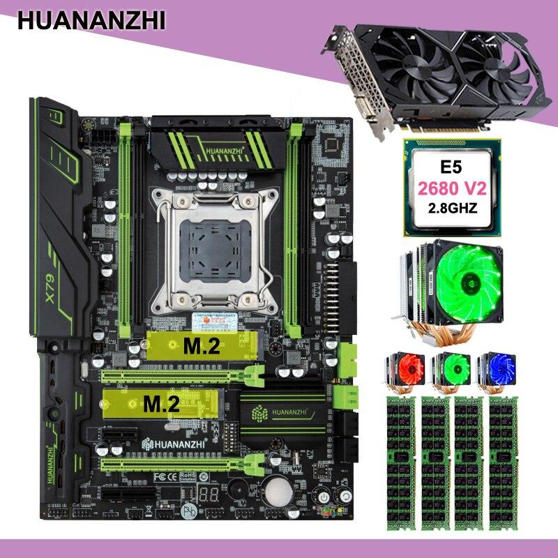 Descuento placa base con doble M.2 ranura HUANANZHI X79 Pro con CPU Xeon E5 2680 V2 RAM 32G video tarjeta de GTX1050Ti 4G