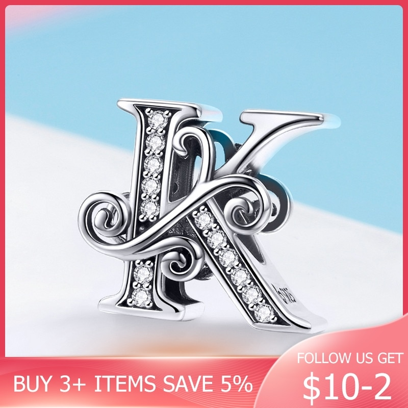 CodeMonkey 100% 925 Nombre de plata esterlina letra de alfabeto K abalorio ajuste pulseras de diseño Original colgante joyería regalo C030-k