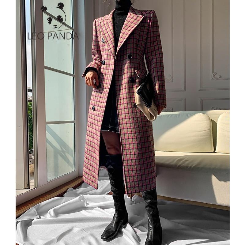 Abrigo de otoño 2019 para mujer, ropa de invierno, ropa de moda, mezclas de lana cálidas, abrigo de lana elegante con doble botonadura para mujer