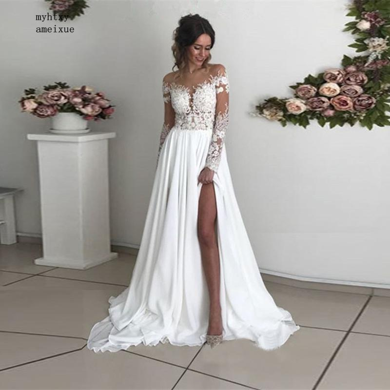 أكمام طويلة رخيصة بوهو فستان الزفاف 2020 الرقبة يزين الشيفون الجانب الشق فساتين زفاف مثير الشاطئ فساتين الزفاف حجم كبير