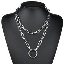 Punk Miami Cuban Choker Necklace Hip Hop Jewelry Trendy Thick Chain Circle Necklace Men Women Neck Accessories