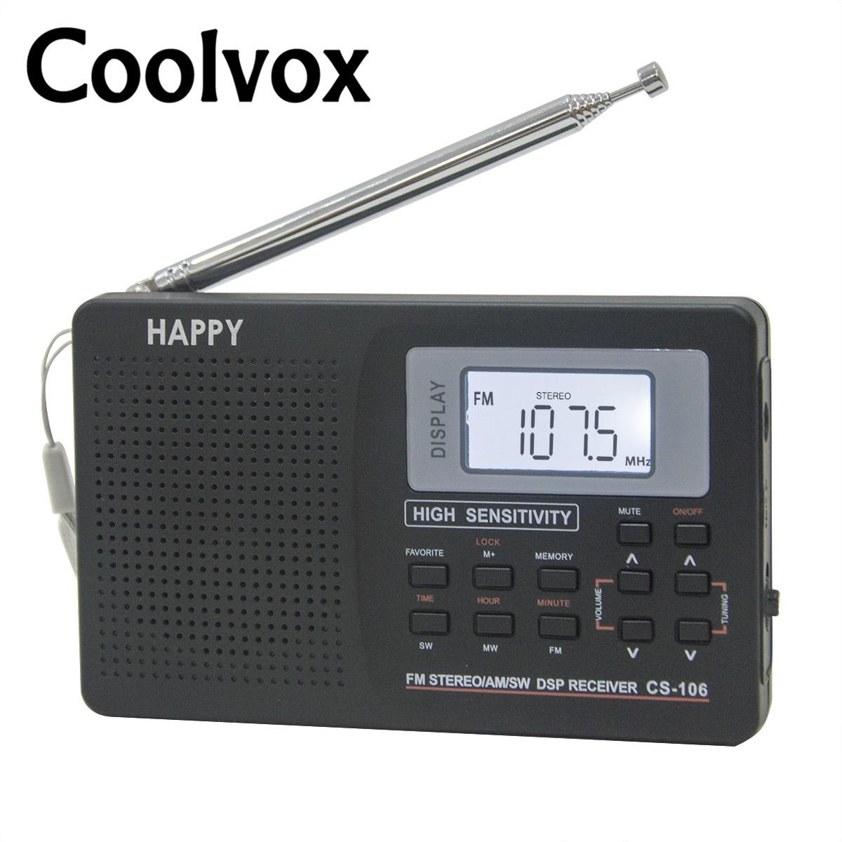 Coolvox-Sintonizador Digital estéreo de banda completa, CS-106, FM/AM/SW/LW/de TV Sonido, receptor de...
