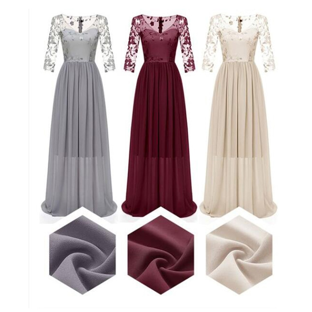 Women Lace Wedding Dress Elegant Long Sleeve Summer Prom Long Dressss Party Bridesmaids Infinity Rob