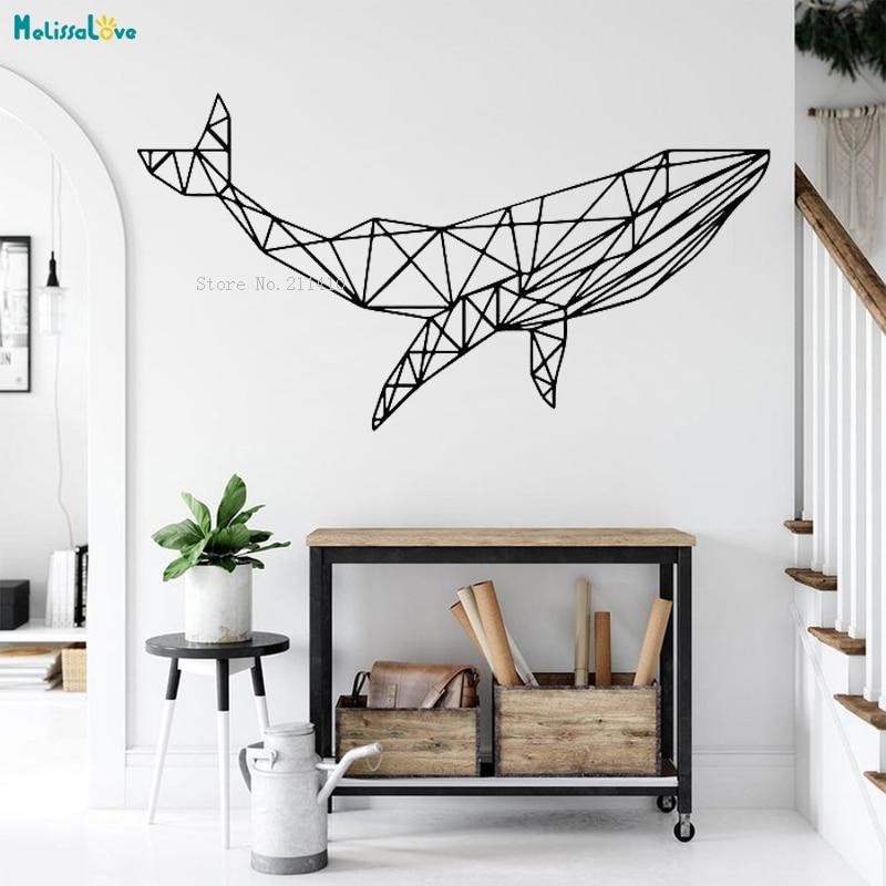 Adhesivos de pared de animales geométrica ballena decoración para el hogar mar profundo gigante salón contornos extraíble Cool Art Poster YT2898