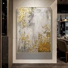 Tableau mural dart doré peint à la main   Nouvelle peinture à lhuile darbre doré fait à la main, pour le salon, la décoration de la maison, 100%