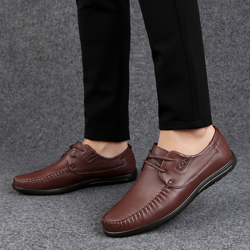 2021 Style Fashion Men's Shoes Casual Genuine Leather Male Nice Classic Brown Black Lace Up Shoe Man Flats Driving Shoes For Men