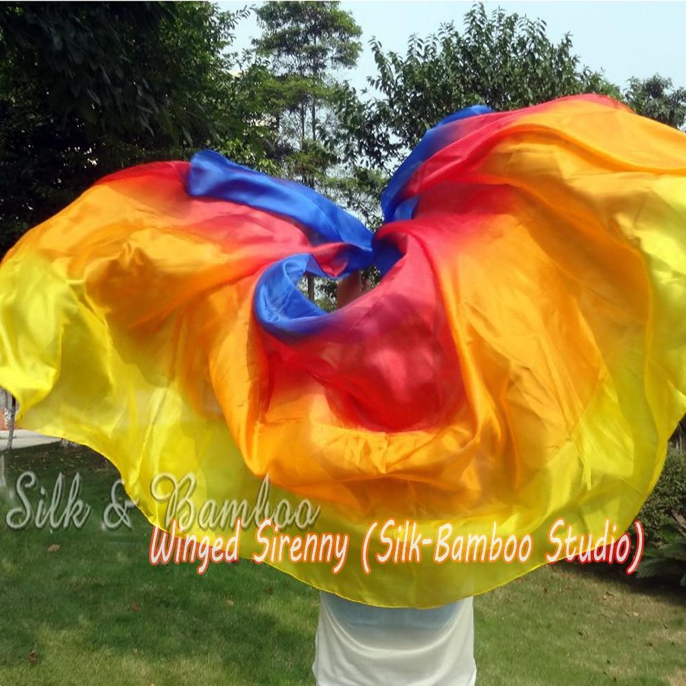 "¡Azul-Rojo-naranja-amarillo, 1 pieza 2,7 m * 1,1 m(3 yardas * 45 "") pintado a mano danza del vientre velo de seda, real holgada 5mm seda paj!"