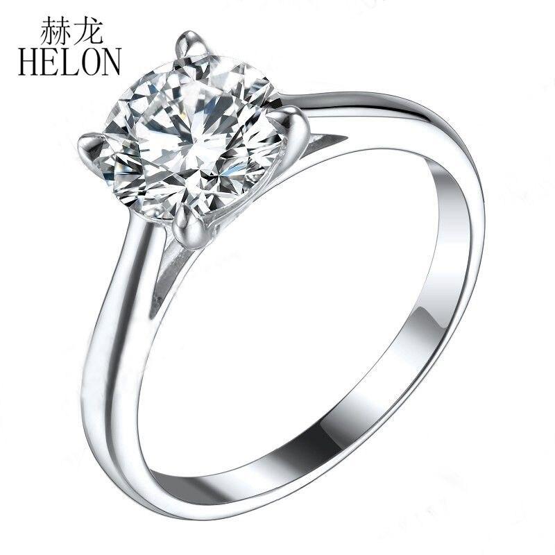 HELON-خاتم مويسانيتي من الذهب الأبيض عيار 18 قيراطًا ، خاتم خطوبة ألماس مويسانيتي المزروع في المختبر ، لون VVS/DEF دائري 8 مللي متر
