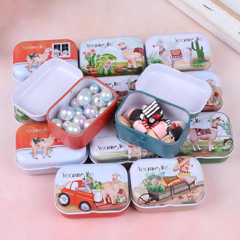 1pcs Colorful Mini Cartoon Alpaca Sailboat Print Tin Box Sealed Jar Packing Boxes Jewelry Candy Box Small Storage Boxes