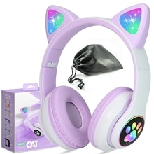 with retail box & Storage Bag,Cute cat wireless bluetooth headphone for Gift, HIFI stereo sound Girl