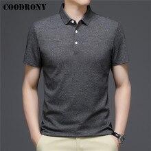 COODRONY ยี่ห้อธุรกิจ Casual เสื้อโปโลแขนสั้น-เสื้อผู้ชายเสื้อผ้าฤดูใบไม้ผลิฤดูร้อน Classic Pure Color บาง Fit Cotton ...