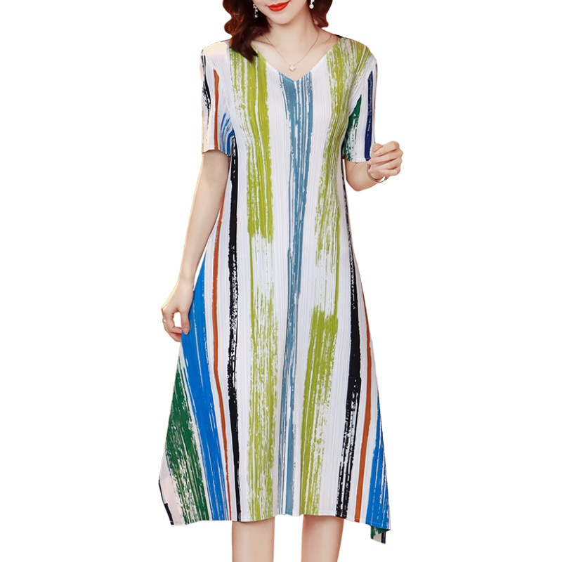 Summer Dress 2021 Striped For Women 45-75kg New Fashion V Neck Short Sleeve Stretch Miyake Pleated Loose Plus Size Dress