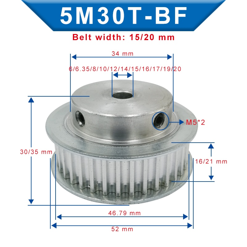 Timing Pulley 5M-30T Bore 6/6.35/8/10/12/12.7/14/15/16/17/19/20 mm Pulley Slot Width 16/21 mm For Width 15/20mm 5M-timing belt timing pulley 5m 30t bore 6 6 35 8 10 12 12 7 14 15 16 17 19 20 mm pulley slot width 16 21 mm for width 15 20mm 5m timing belt