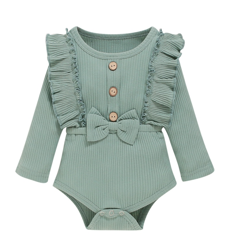 New Toddler's Spring Autumn Clothes Solid Color Ruffle Long Sleeves Ribbed Rompers with Bowknot for Baby Girl 0-18 Months