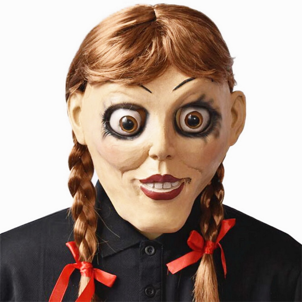 Anime Annabelle Cosplay Halloween Mask Latex Doll Scary Movie Female Ghost Props Adult Headgear Party Masks With Ponytail Wig