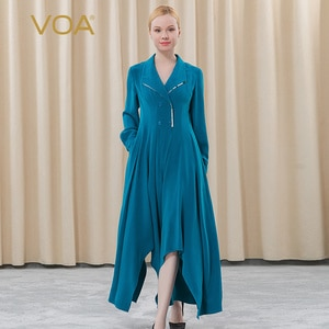 VOA heavy silk 30m/m blue Women's jumpsuits lapel collapsible double-breasted irregular hem attached skirt pants KE207