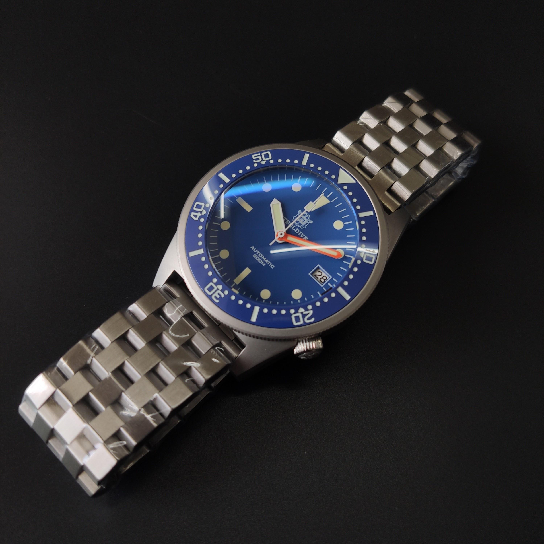 Steeldive Brand SD1979 Stainless Steel Bracelet Super Luminous C3 Blue Dial 200M Waterproof Dive Watch Men