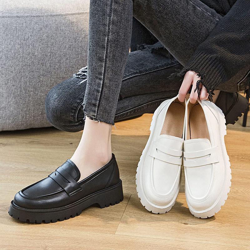 Zapatos De plataforma De piel auténtica para Mujer, mocasines De cuña con...