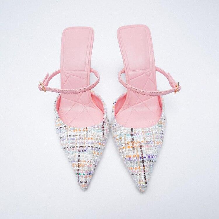 Шлепанцы женские разноцветные с острым носком, туфли без задника, Роскошные блестящие туфли, высокий тонкий каблук, летняя обувь туфли без задника boite