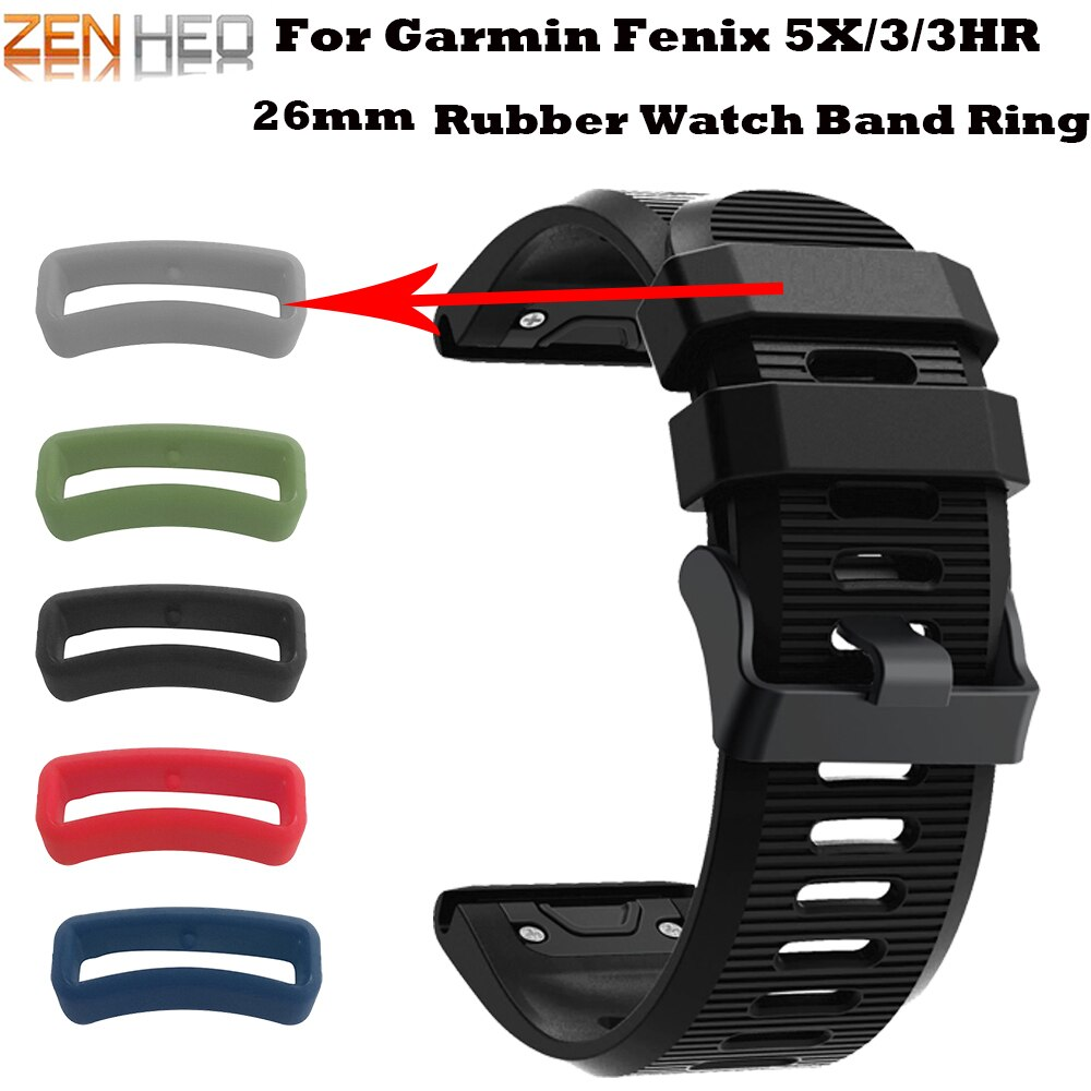 Banda de reloj de goma de silicona con anillo de correa de 26mm accesorios para Garmin Fenix 5X/3/3HR 5X Plus correa hebilla Correa anillo